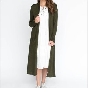 NWOT Olive Smooth Knit Duster